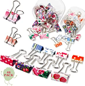 48 Pieces Colorful Binder Clips Paper Clamps 2 Sizes Cute Printing Metal Fold Back Clip Designer Binder Clips with Box for Office, School and Home Supplies, 0.75 Inch and 1 Inch