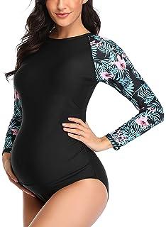 EastElegant Maternity One Piece Swimwear Long Sleeved Rash Guard with Zipper Full Covered Pregnancy Bathing Suit Black