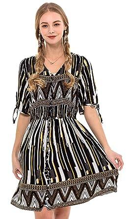 5ccf343d1c3 Wantdo Women s Button Up Split Maxi Dress V-Neck Short Sleeve Dress for  Wedding(