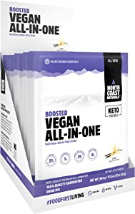 North Coast Naturals Boosted Vegan All in One – Plant Based Protein Powder, Superfood Antioxidant with Fruits and Veggies - 12 x 42g - Vanilla