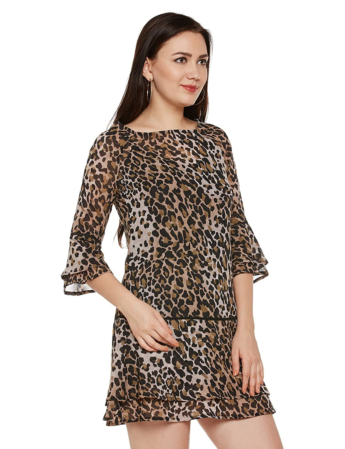 abcde3dc28 oxolloxo Women Boat Neck Multicolor Printed Shift Dress (3 4th Sleeves)   Amazon.in  Clothing   Accessories