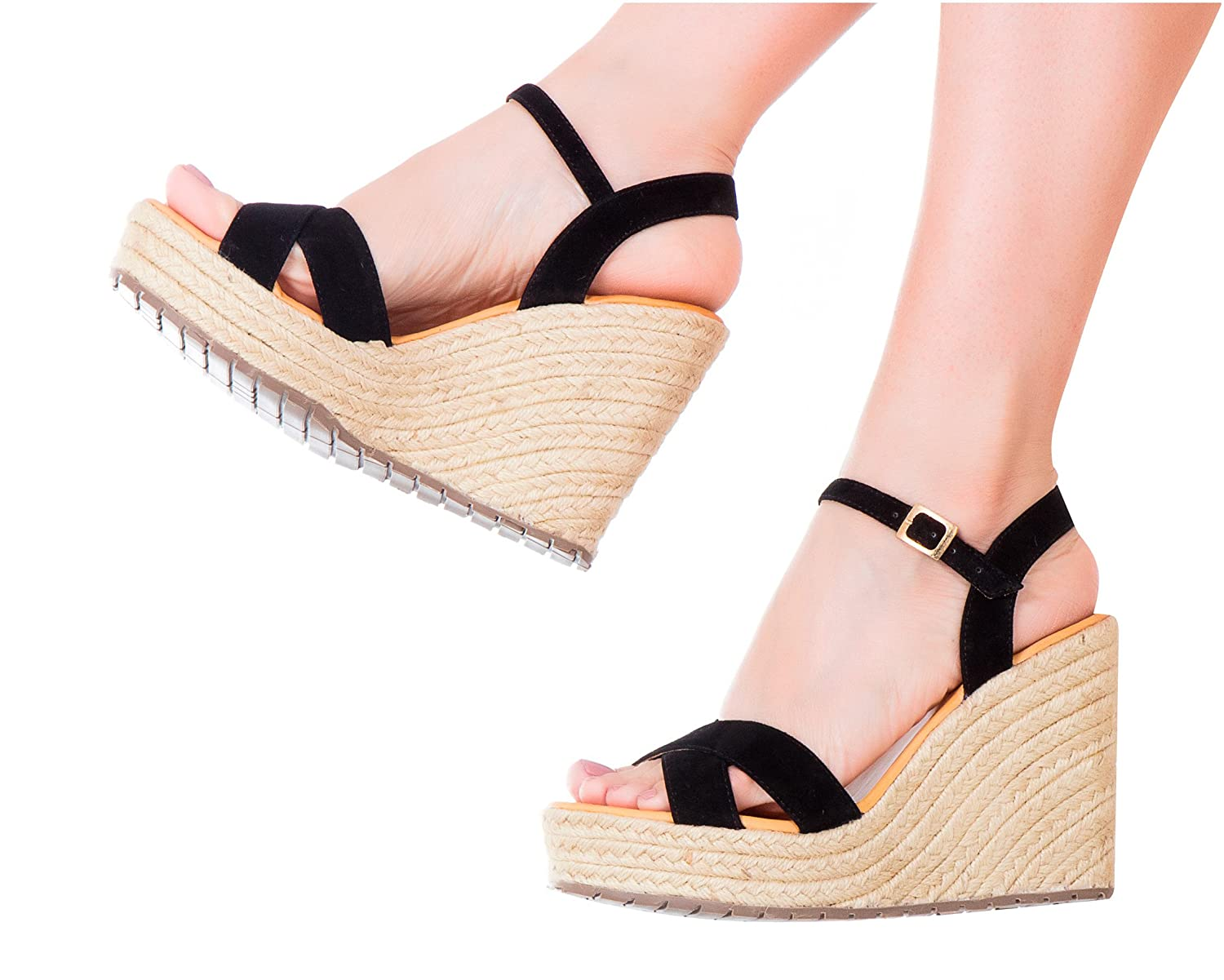 Vida Leather Women Ankle Tie Platform Espadrille Sandals | Sandalias de DAMA B0755HMRYR 9 B(M) US|Black