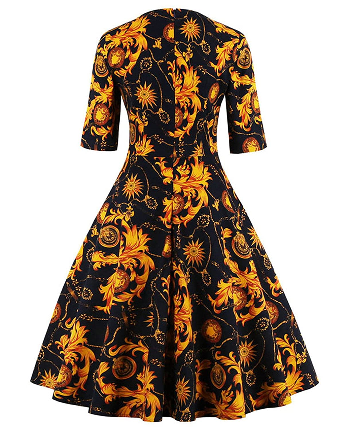 ZAFUL Women\'s 1950s Retro Vintage Floral 3/4 Sleeve Party Cocktail ...