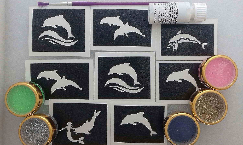 Dazzle Glitter Tattoos delfín Conjunto Tatuaje Purpurina temática ...