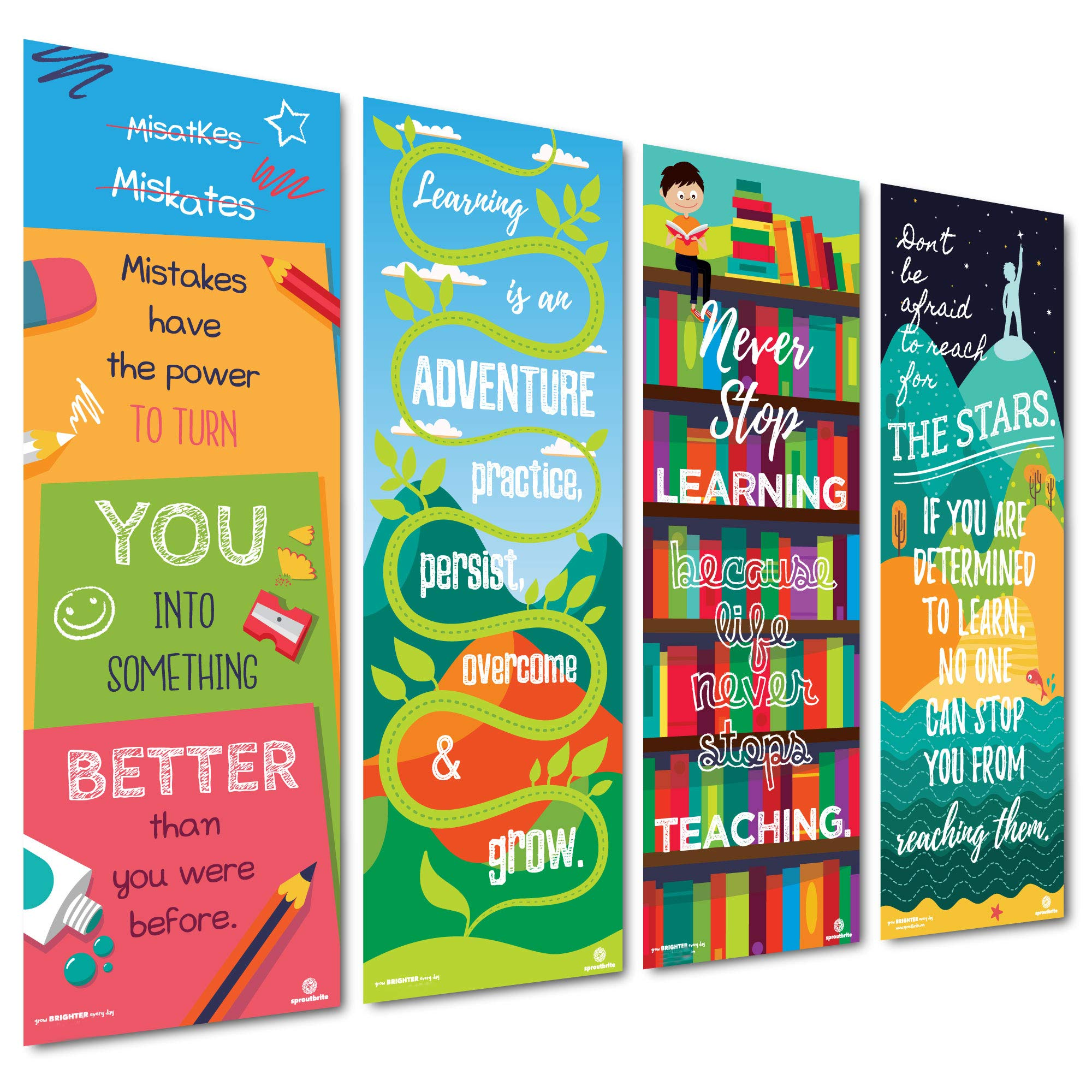 Sproutbrite Classroom Vertical Banner/Posters for Decorations - Educational, Motivational & Inspirational Growth Mindset for Teacher, Students - 4 Poster Pack - 13''x39'' Each