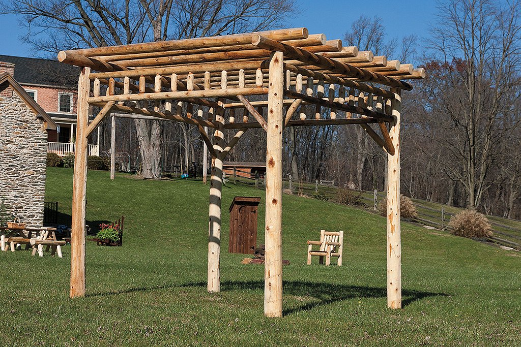 Cedar Log 8' x 8' PERGOLA - Rustic Brown Stain