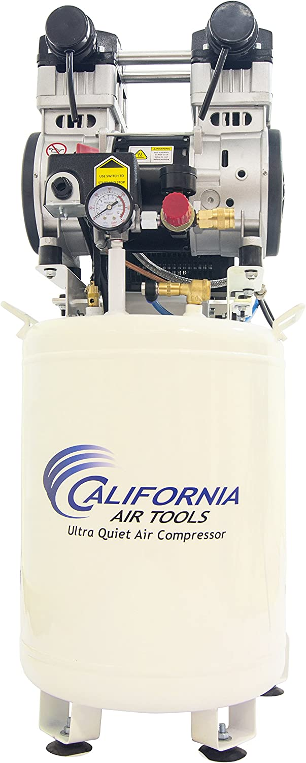 California Air Tools 10020DCAD-22060 Ultra Quiet and Oil-Free 2.0 HP Air Compressor with Air Drying System and Auto Drain Valve, 10 Gallon, White