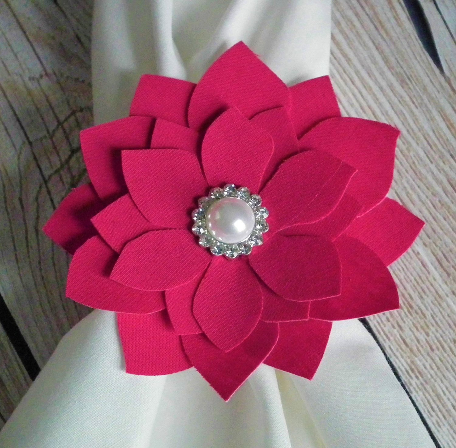 Set of 2 fabric flower napkin rings, hot pink with white faux pearl center