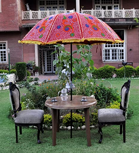 Lalhaveli Ethnic Handmade Embroidery Work Design Cotton Large Garden Umbrella 52 X 72 Inches