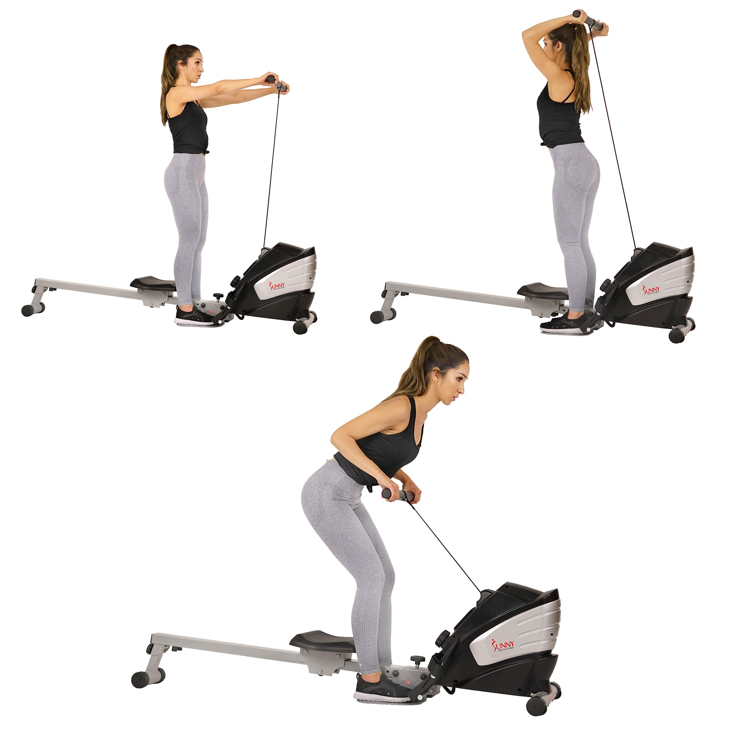 Sunny Health & Fitness Dual Function Magnetic Rowing Machine w/ Digital Monitor, Multi-Exercise Step Plates and Foldable -  SF-RW5622 by Sunny Health & Fitness (Image #8)