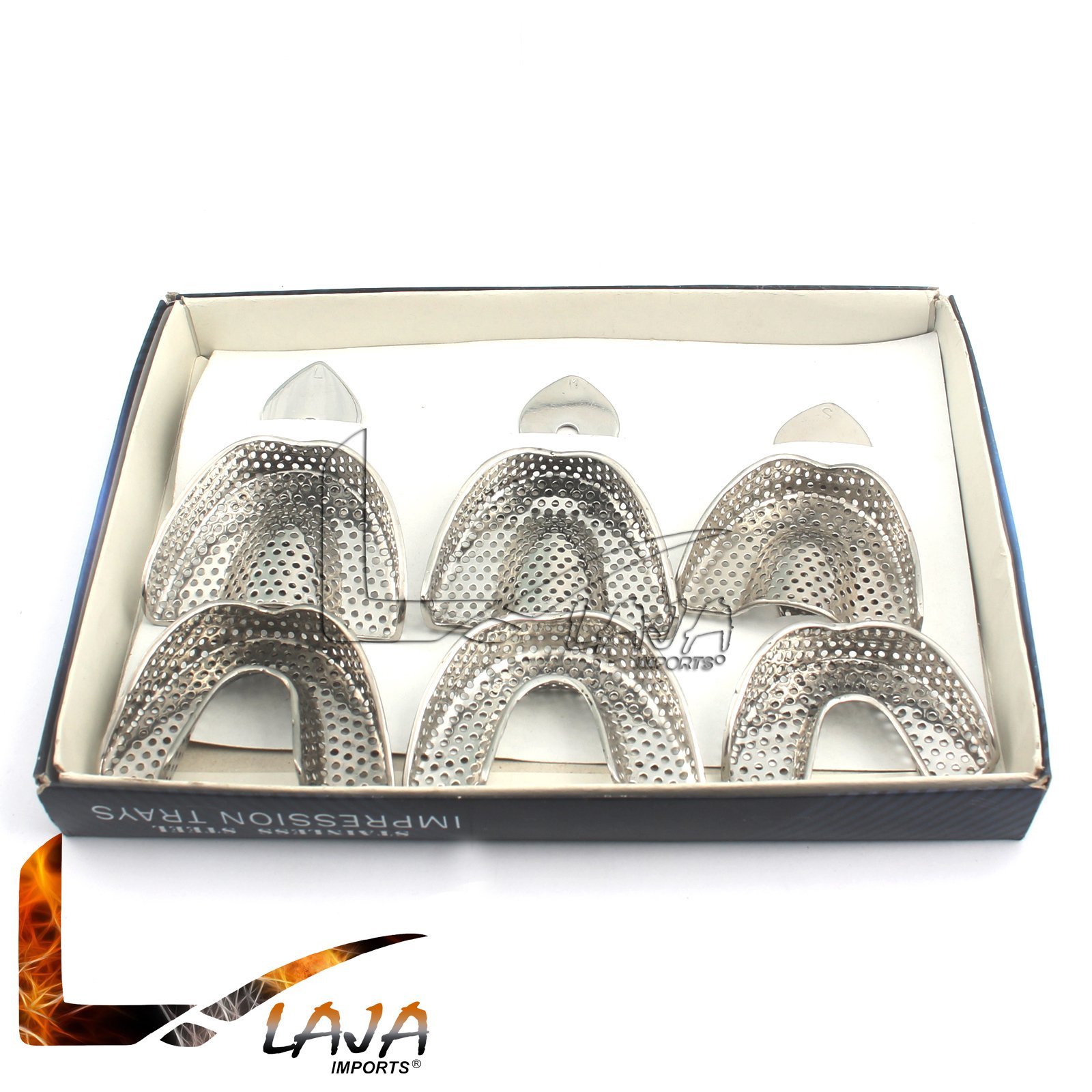 LAJA IMPORTS DENTAL ORTHO IMPRESSION TRAYS AUTOCLAVABLE 6 PCS/SET DENTURE INSTRUMENTS