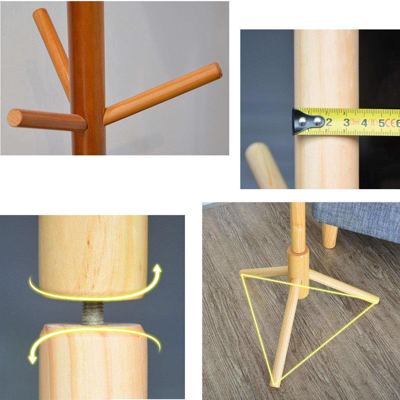 Amazon.com: Perchero de pie de madera de madera maciza con 9 ...