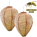 2 x Decoy Paper Anti Wasp Nest Simulated Deterrent Hanging Territorial Insect Protection Scare Wasps From Garden Area