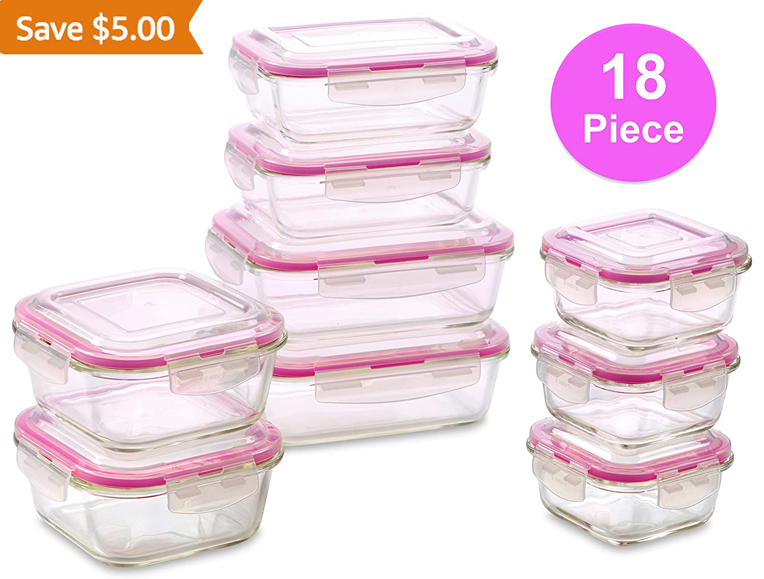 WonderVeg Glass Food Storage Containers - 18 Piece - BPA Free - Dishwasher Safe - Oven Safe - Airtight Seal - Reusable Food Container Set - Use for Home, Kitchen and Restaurant