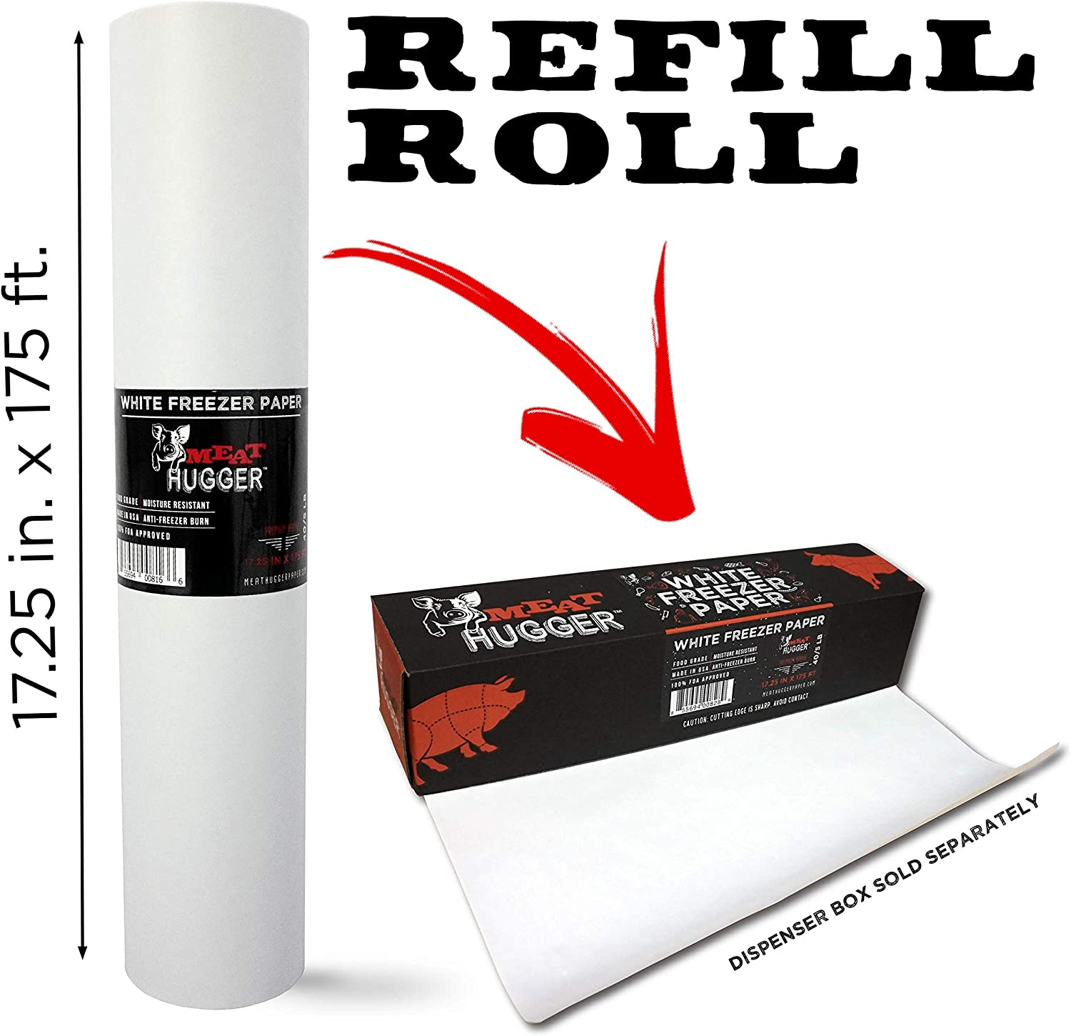 White Freezer Paper Refill Roll For Dispenser Box (17.25 Inch x 175 Feet) - Poly Coated Moisture Resistant Wrap with Matte Side for Freezing Meats, Protects Against Freezer Burn