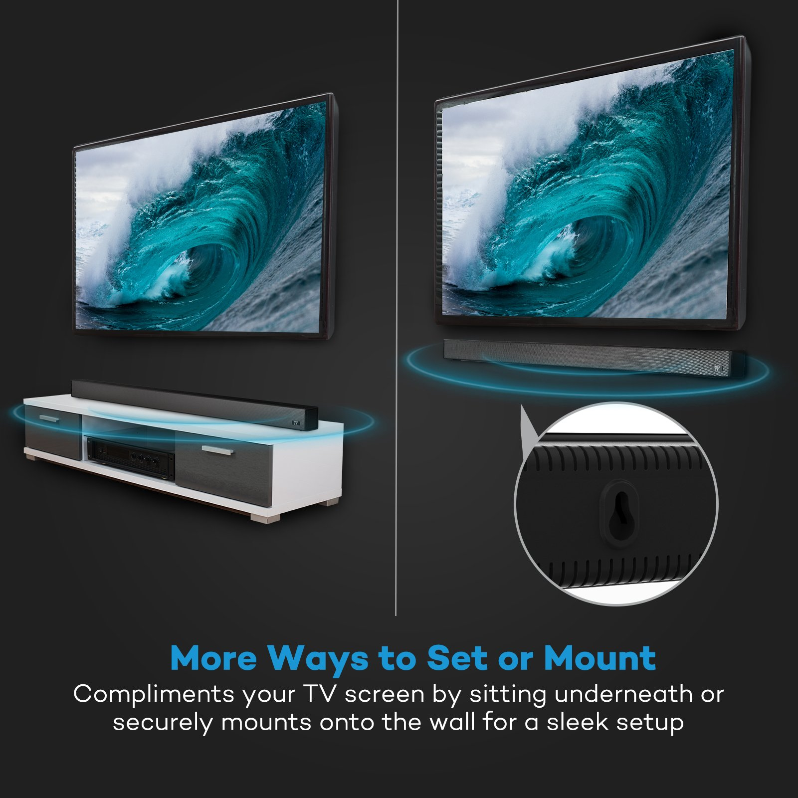 Soundbar, 36-Inch 4 Speakers Strong Bass TaoTronics Sound Bar Wired ...