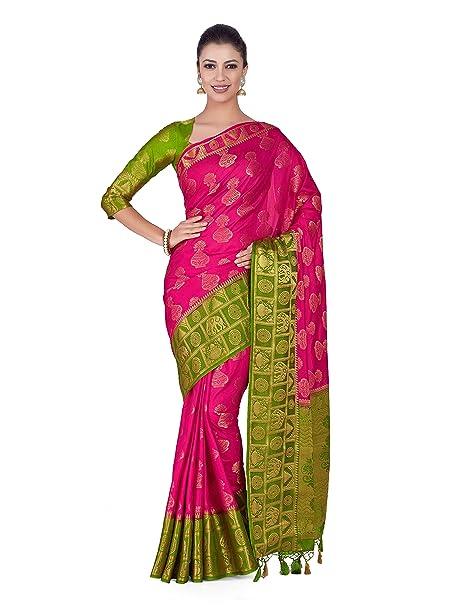 07cffb6f1c2455 Mimosa Art silk Wedding saree Kanjivarm Pattu style With Contrast Blouse  Color  Pink (4316-351-2D-GAJJ-OLV)  Amazon.in  Clothing   Accessories