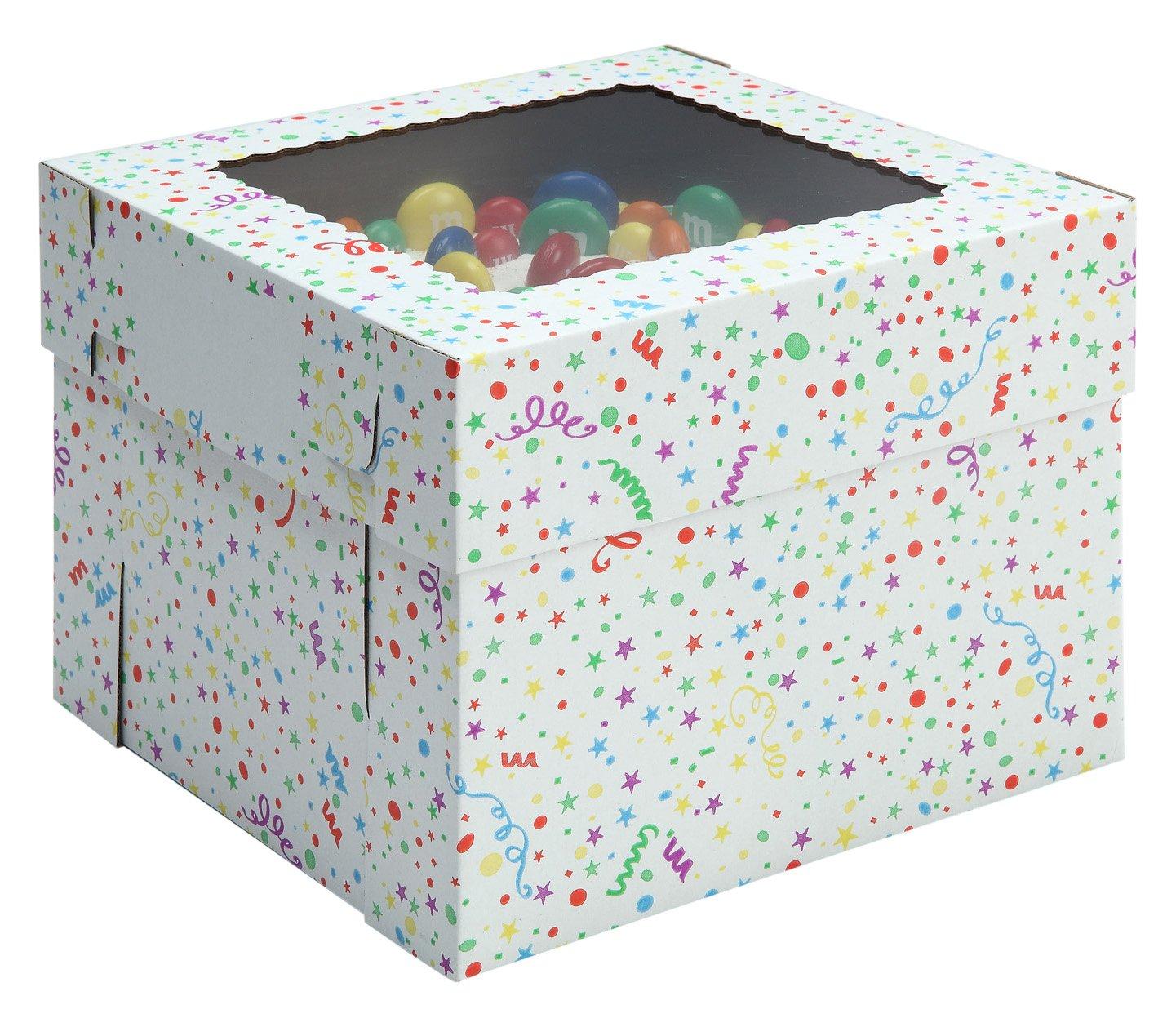 W PACKAGING WPCKB108PB 10x10x8 White/Kraft Party Print 8'' Deep Cake Box W/Window, E-Flute (Pack of 25)
