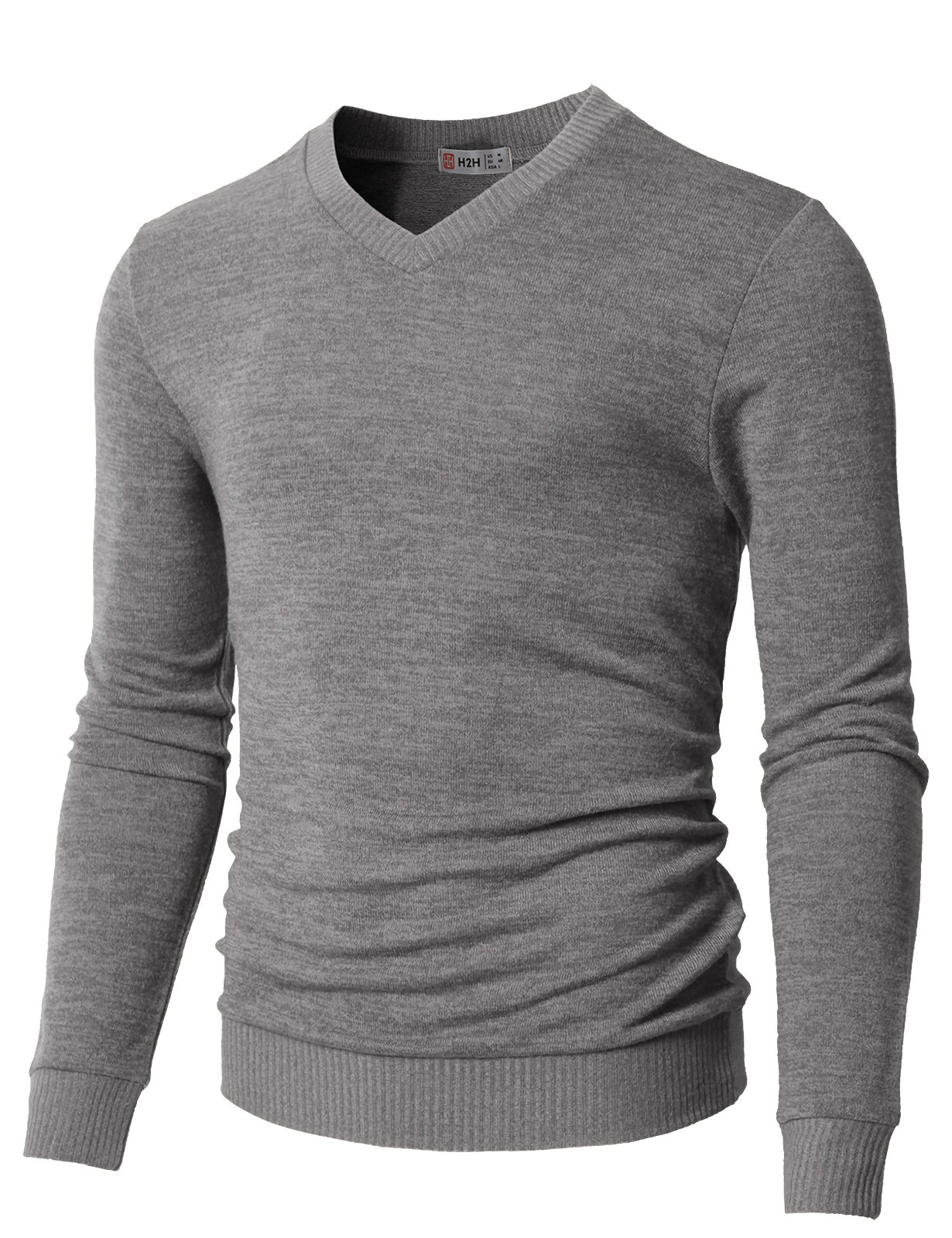 H2H Mens Slim Fit Ribbed Knit Cardigan Pullover With Pockets Gray US L/Asia XL (CMOSWL018)