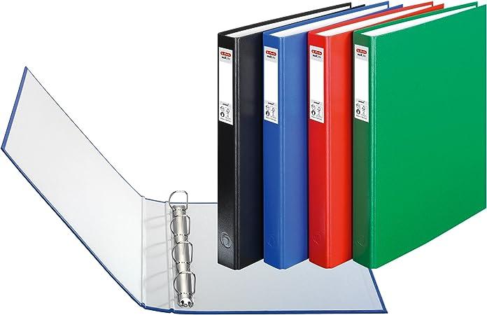 Herlitz Protect - Lote de archivadores con 4 anillas (3 unidades, A4), varios colores: Amazon.es: Oficina y papelería