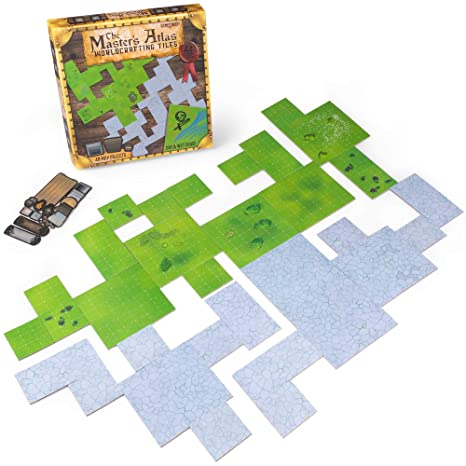 The Master's Atlas (Grass/Stone) | 44 Reversible Dry & Wet Erase Map Grid  Tiles | 48 Dungeon Object Tokens: Treasure, Doors, Stairs and More | RPG