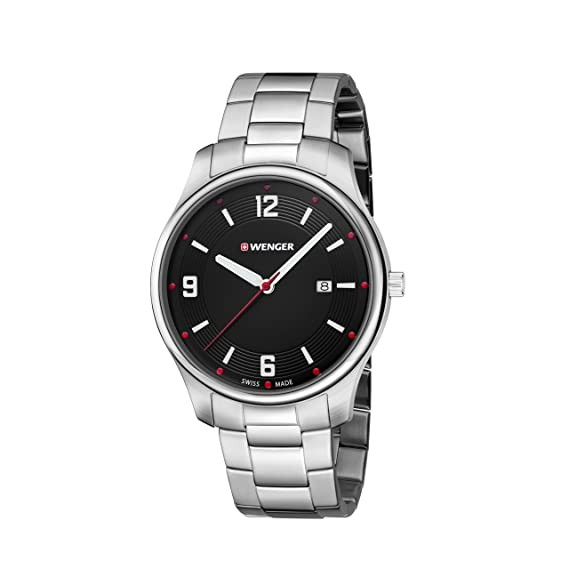 Wenger/SwissGear Reloj Analogico para Unisex de Cuarzo con Correa en Acero Inoxidable 01.1441.110: Amazon.es: Relojes