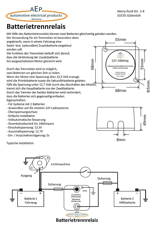 Vollautomatisches Batterie Trennrelais 12 V / 140 Ampere: Amazon.de ...