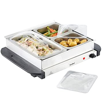 vonshef 3 tray food warmer buffet server 3 large pans keep food rh amazon co uk Buffet Heating Trays Heating Trays for Parties
