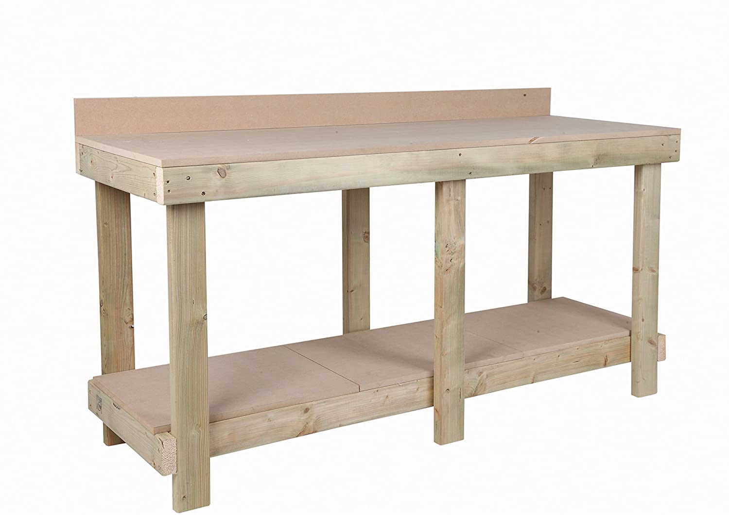 Mc Timber Products ltd 6ft / 1800mm NEW HAND MADE HEAVY DUTY WORK BENCH MDF TOP REAR UPSTAND