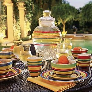 Brylanehome Santa Fe Hand-Painted Striped Stoneware Dinnerware, Multi Stripe
