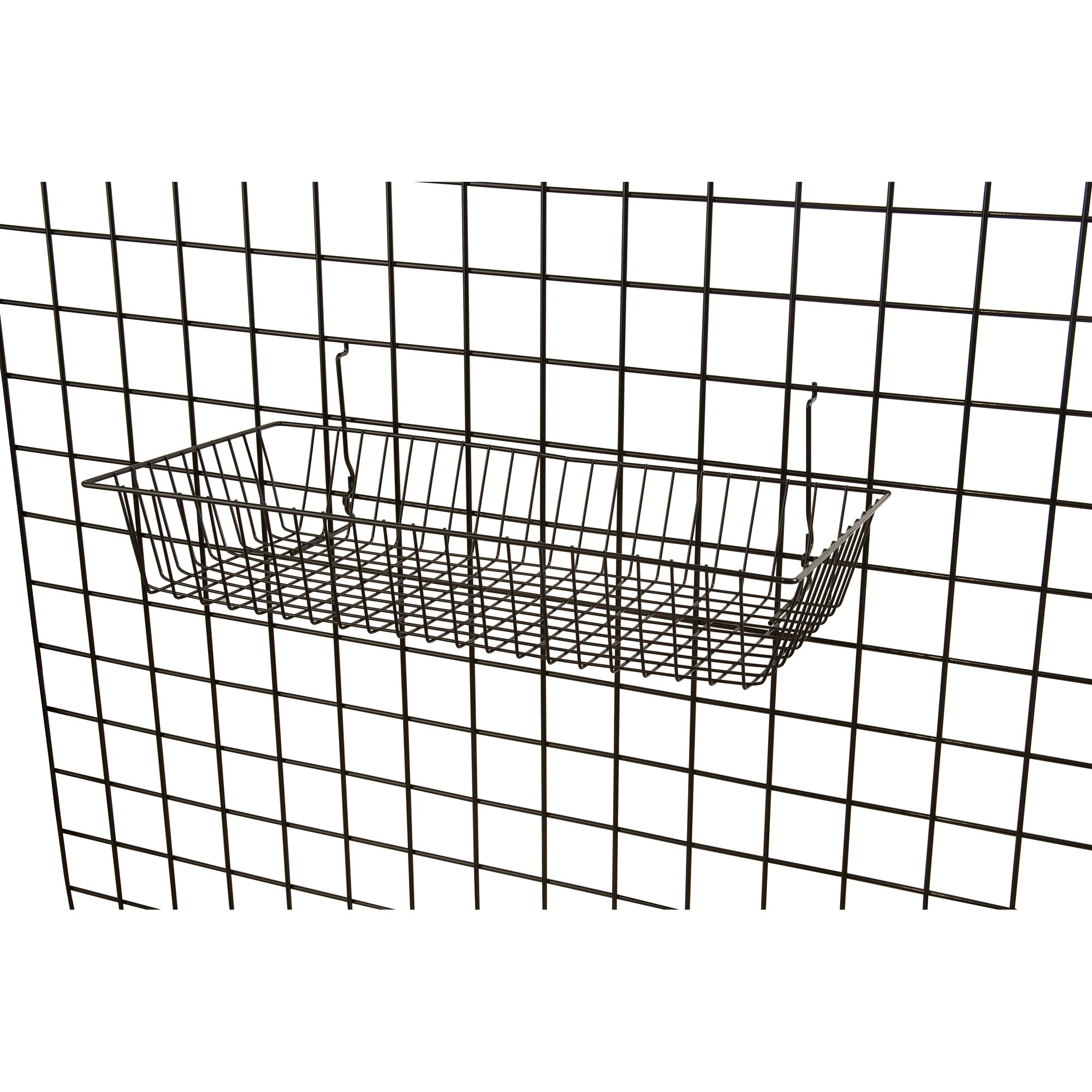 """Black Wire Baskets for Slatwall, Gridwall or Pegboard (Set of 2), Merchandiser Baskets, Perfect for Retailers or Home Use, Black Vinyl Coated Wire Baskets, 24"""" L x 12"""" D x 4"""" H, Shallow Baskets by Only Garment Racks (Image #1)"""