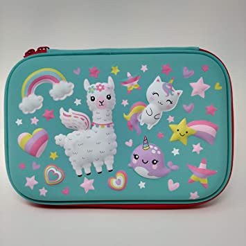 Hot Focus Pencil Case, Pencil Box for Girls with Compartments. This Stationery Pouch Comes with 2 Elastic Pockets, Pencil Holders & a Mirror for Makeup (LLAMA)