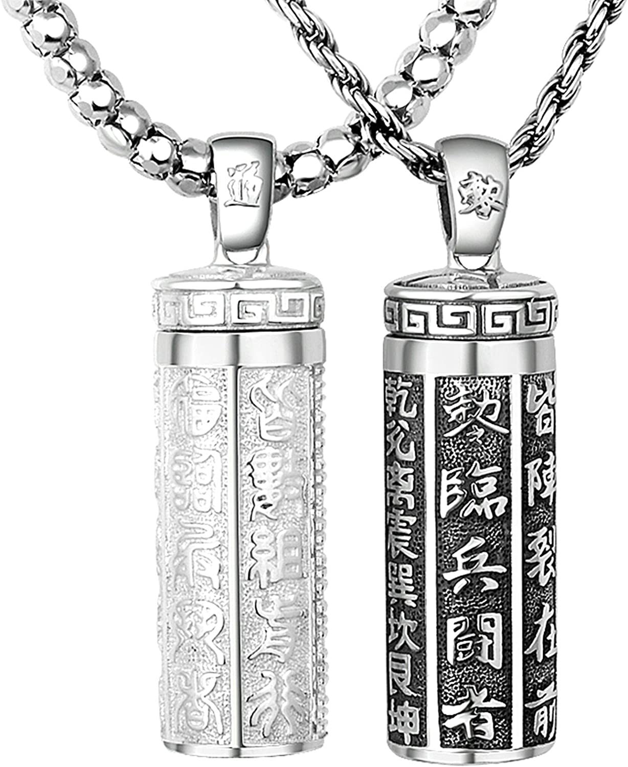 Aooaz Pendant Necklaces for Men Women Silver Material Necklace Buddha Beads Chain Chain Necklace