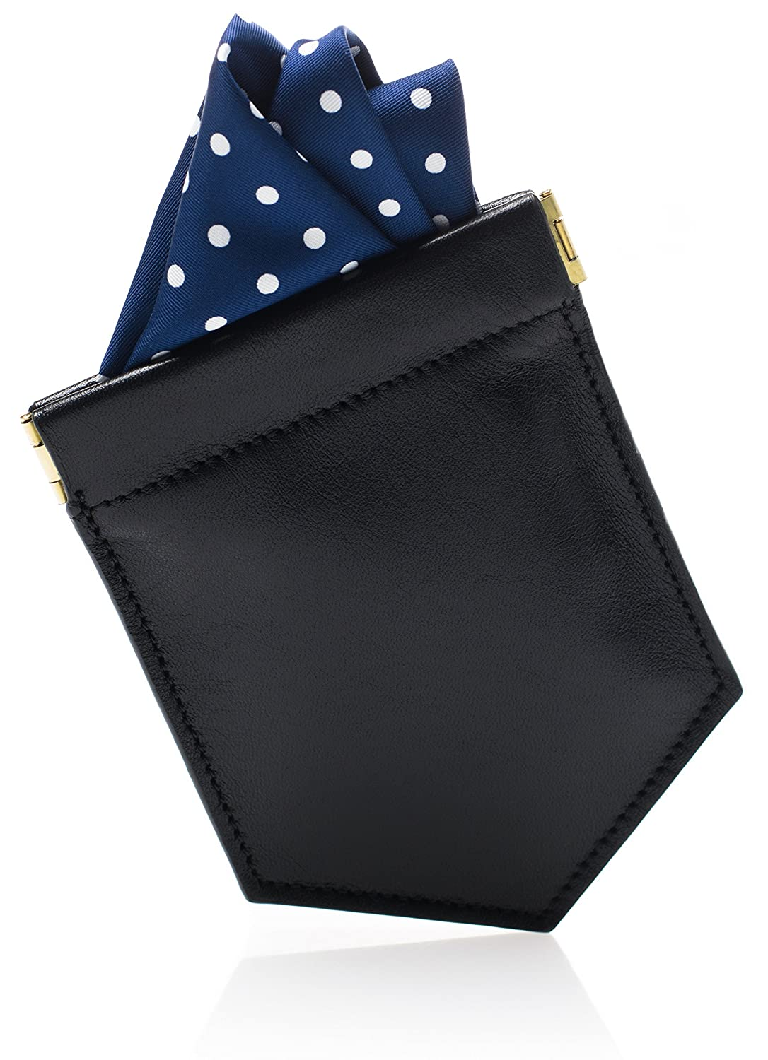 Pocket Square Holder & Men's Fashion Accessory to Hold the Handkerchief Fold - Slim Black Leather Design - Fits all Handkerchiefs & Suit Jackets - Great Gift
