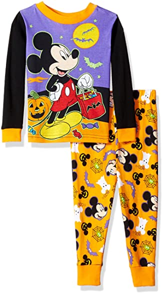 disneytodder boys mickey mouse 2 piece cotton halloween pajama set orange 2t