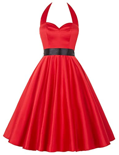 Grace Karin®Women's Vintage 1950's Halter Knee-Length Cocktail Party Dresses