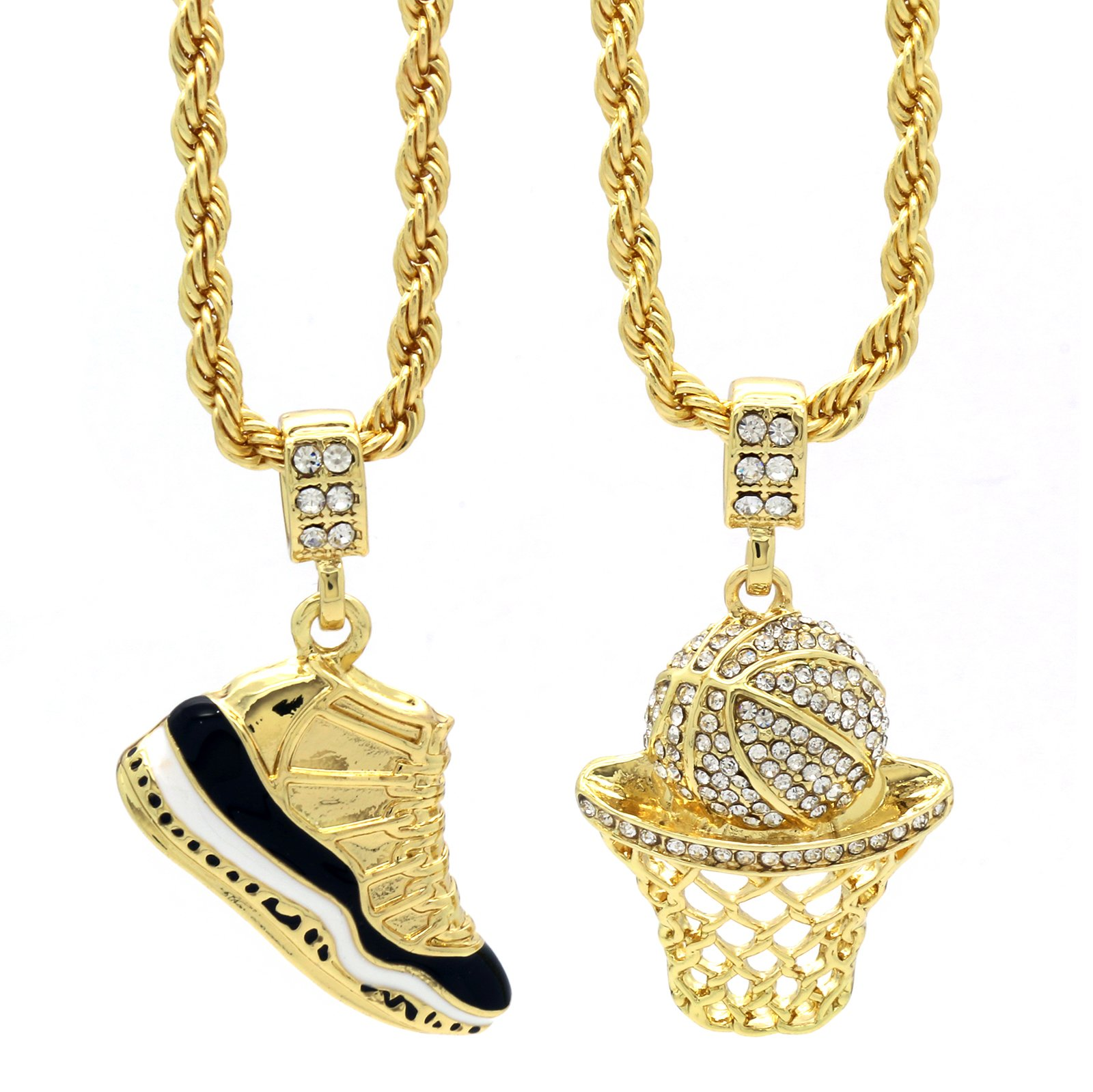 L & L Nation Mens Gold Plated HipHop Retro 11'' Concord & Cz Basketball Pendant 4mm 24'' Rope Chain by L & L Nation