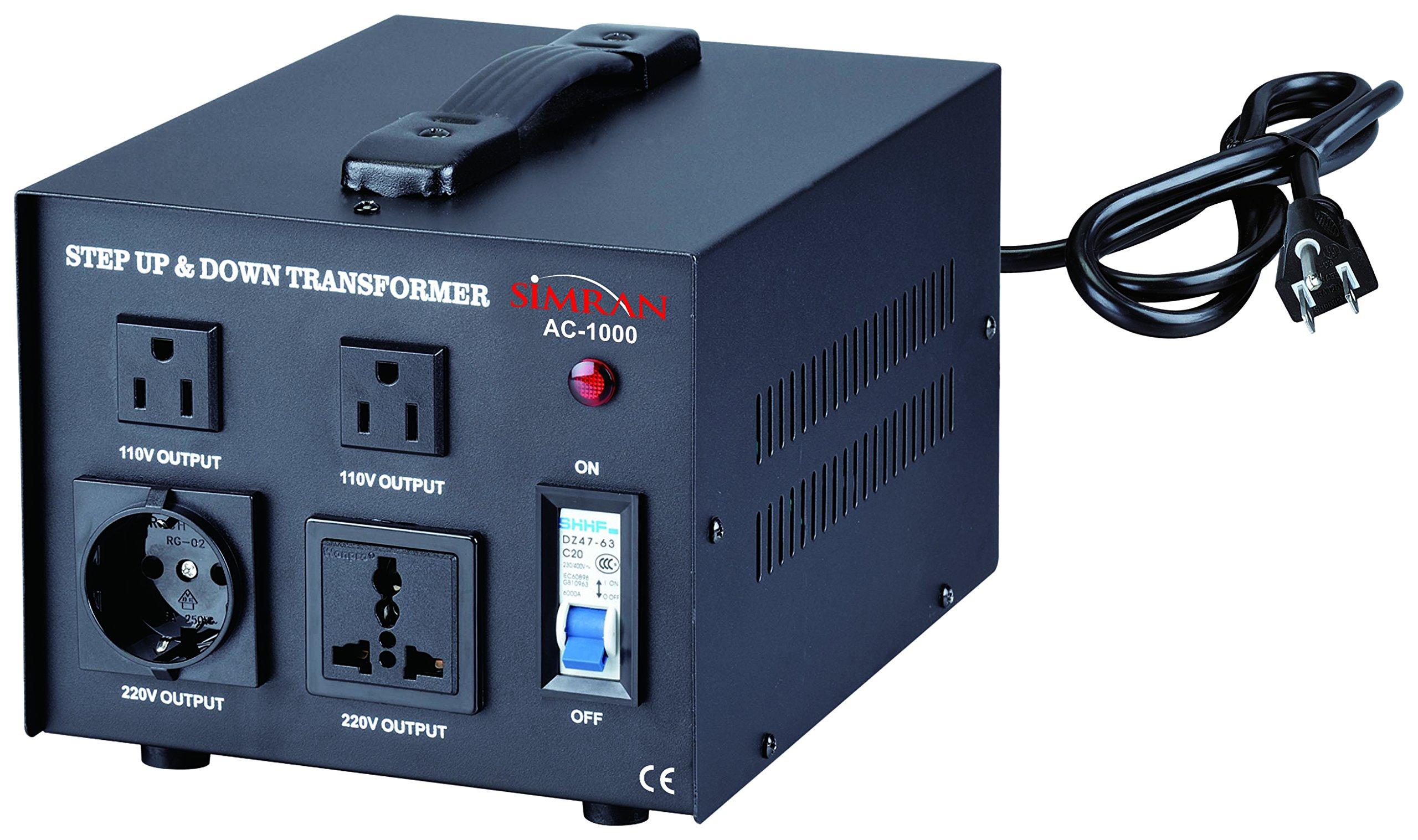 Simran 1000 Watt Voltage Converter Transformer 110 Volt to 220/240 Volt Step Up & Down Power Converter, (ACN-1000)