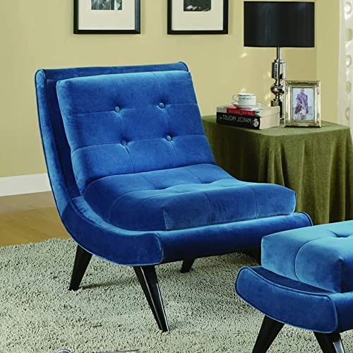 Armen Living 5th Avenue Accent Chair in Cerulean Blue Velvet and Black Wood Finish