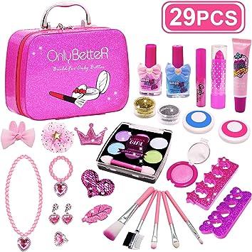 Juego de maquillaje para niños, kit de maquillaje para niños, kit de maquillaje real para niñas