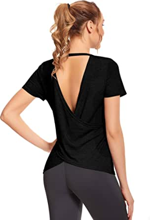 OJONIK Short Sleeve Workout Tops for Women - Open Back Athletic Yoga Tops Gym Shirts