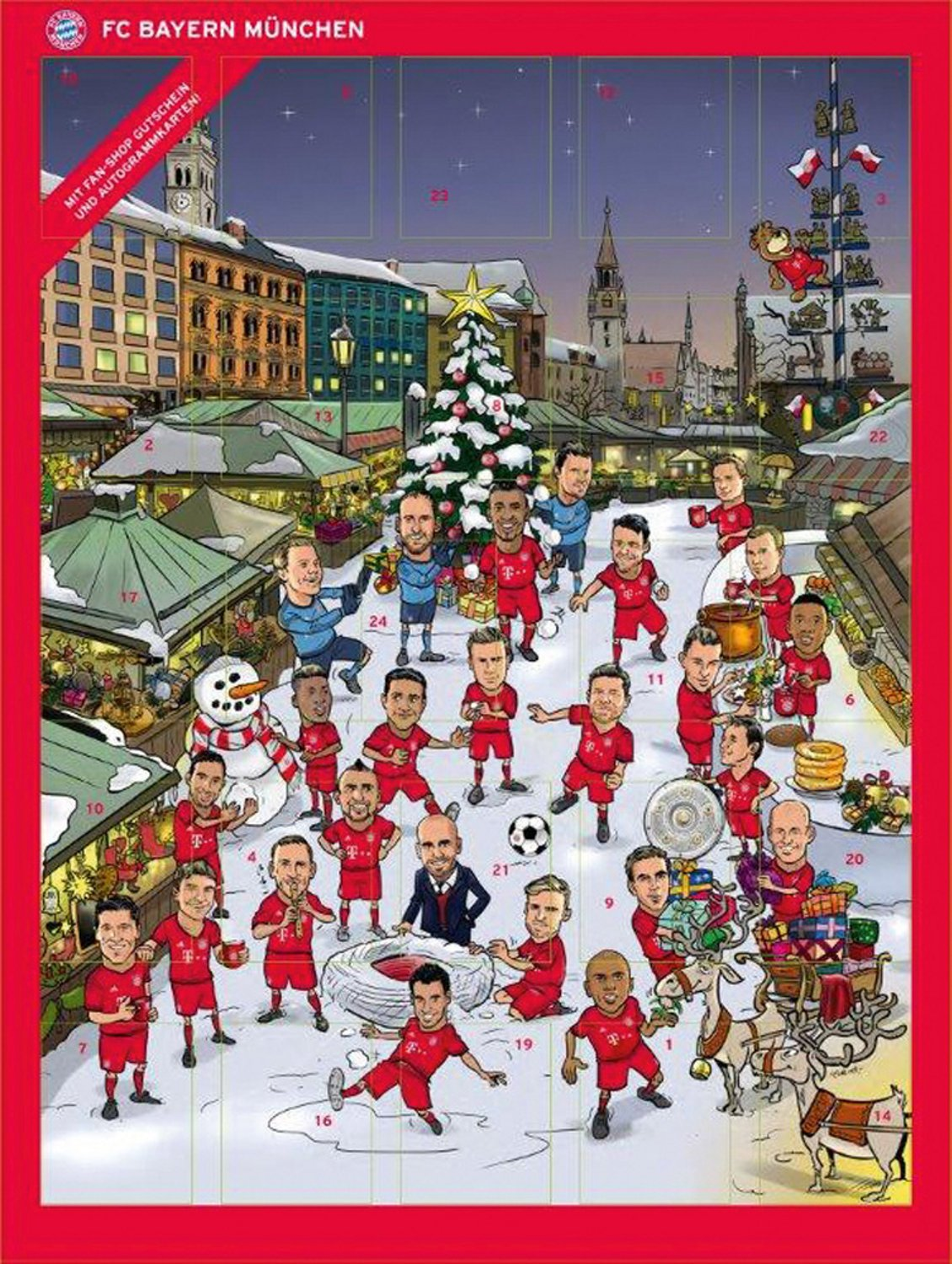 FC Bavaria Advent calendar 2015 with Chocolate and Autograph cards:  Amazon.co.uk: Grocery