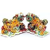 Feng Shui Pair of Colored Fu Foo Dog Guardian Lions Wealth Protection Statue Figurine Housewarming Congratulatory Gift