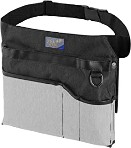 Gardening Tool Belt/Apron, 4-Pocket Utility Tool Waist Pouch Belt, Unisex Garden Waist Bag with padding&Adjustable Belt(Black&Grey)