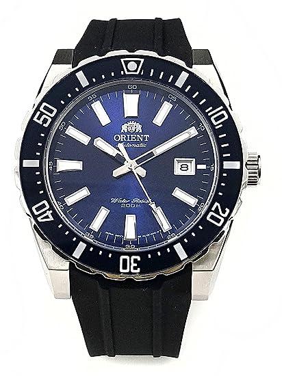 Reloj Orient automático de Hombre, de Estilo Deportivo, Esfera Azul y Correa de Silicona