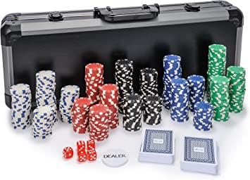 500 Piece Poker Set in Carry Case Free Extras Dice Poker Chips Set