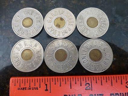 (6 Piece Lot) Original New Jersey Garden State Parkway toll tokens. Each token