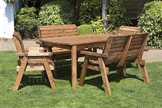 hgg 6 seater wooden garden table bench and chair set dining set outdoor patio - Garden Furniture 6 Seater