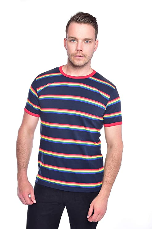 1960s – 70s Mens Shirts- Disco Shirts, Hippie Shirts Run & Fly Mens 70s Navy Retro Rainbow Block Stripe T Shirt $18.95 AT vintagedancer.com