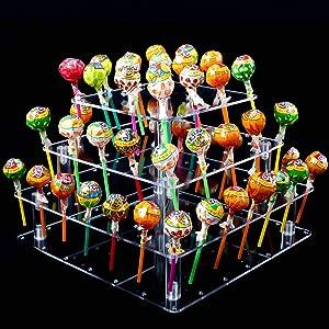 KINJOEK 56 Holes Lollipop Holder 4 Tier Acrylic Cake Pop Stand